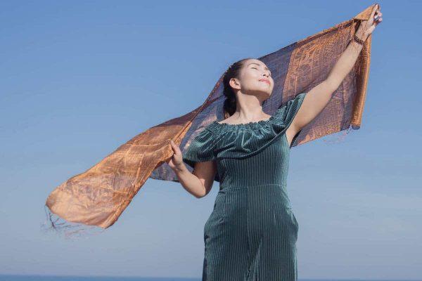 buy brown silk scarf online