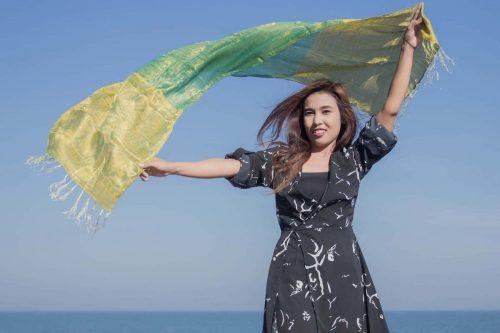 buy green silk scarf online