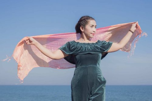buy rose silk scarf online