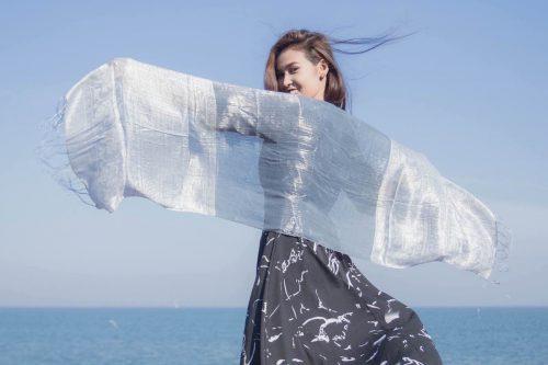 buy silver silk scarf online