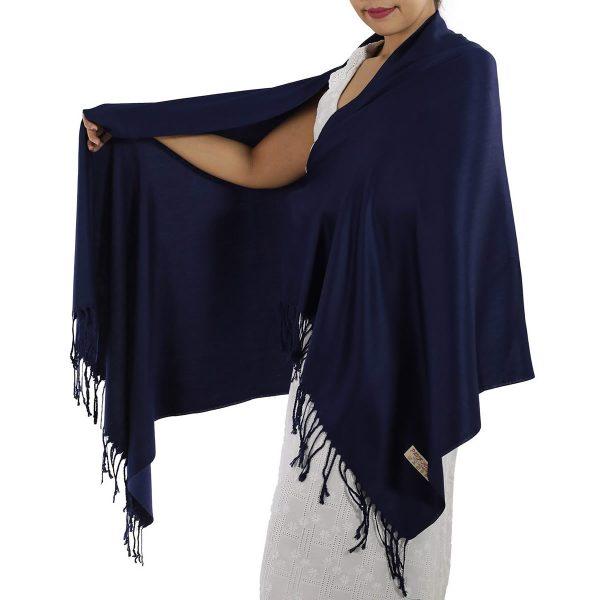 navy blue pashmina scarf