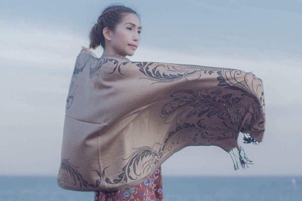 buy patterned light brown pashmina scarf online