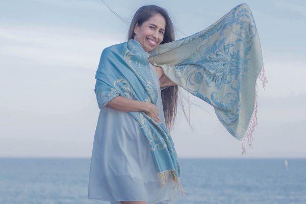 buy patterned silvery blue pashmina scarf online