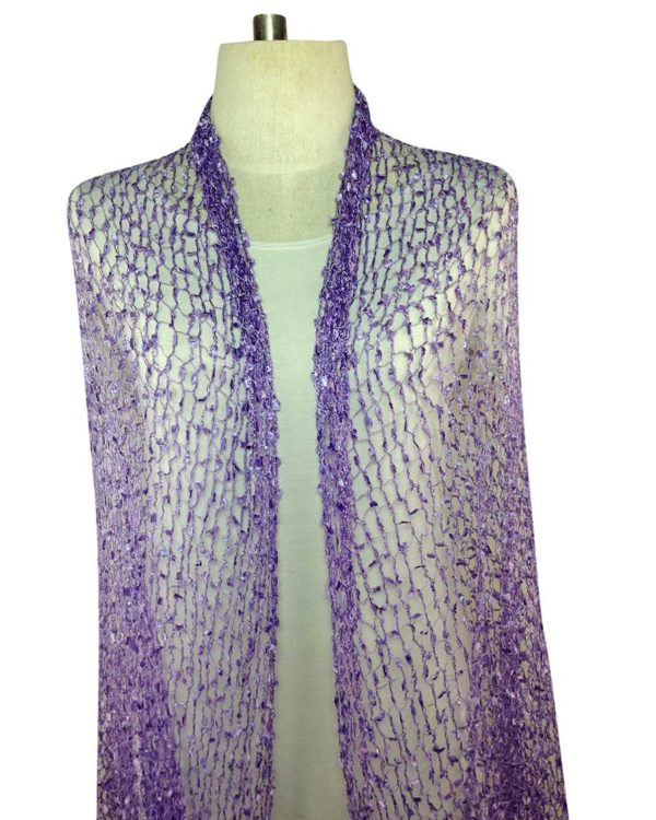 open stitch purple scarves