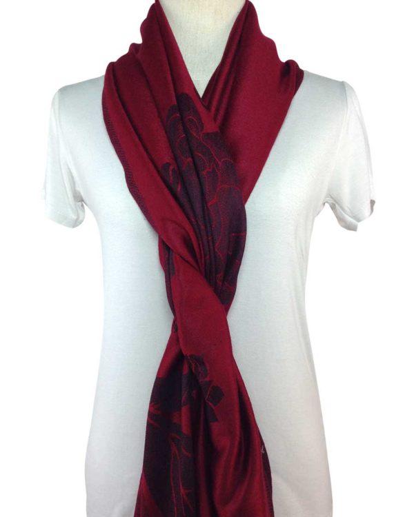 patterned red pashminas