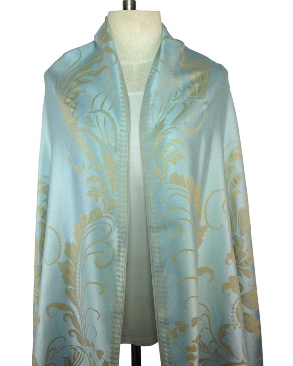 patterned silvery blue pashminas