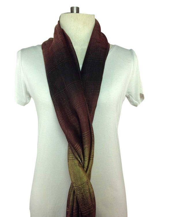 thai brown silk scarves