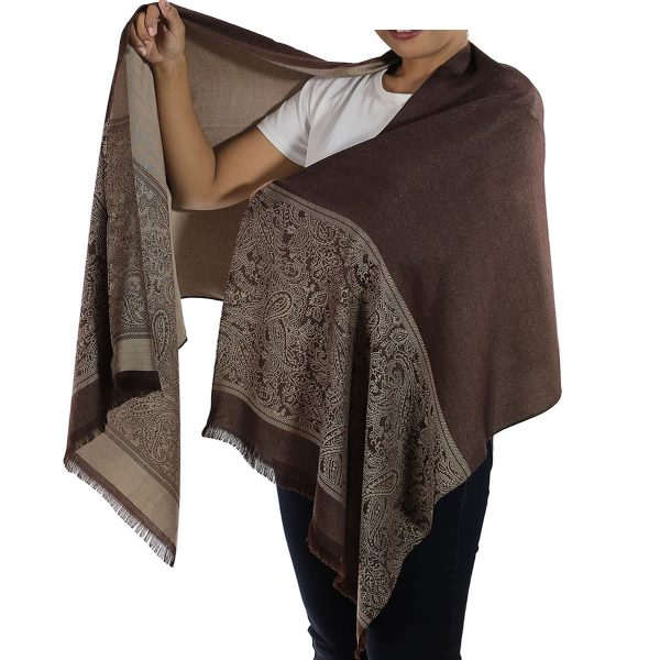 buy brown silk shawl