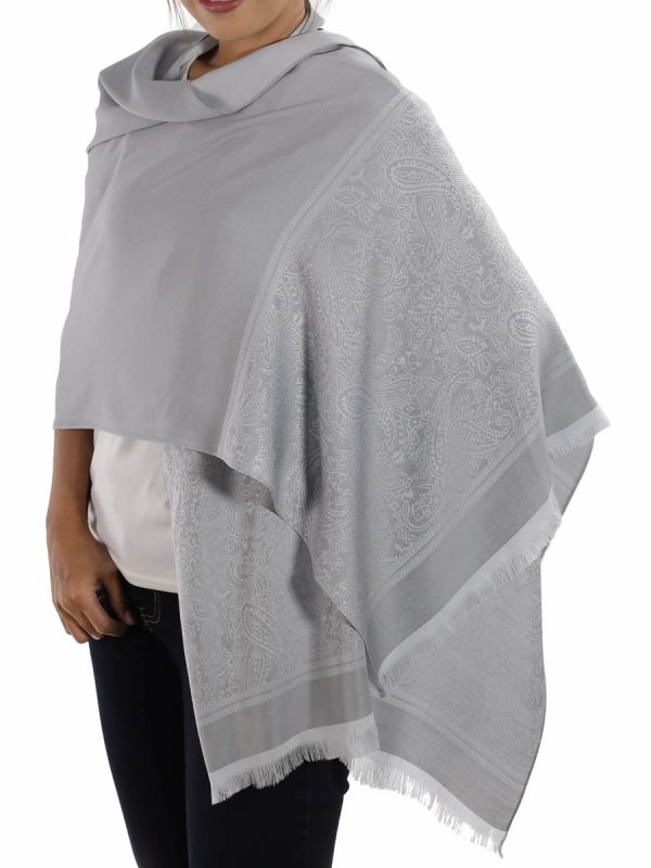 buy silver silk scarves