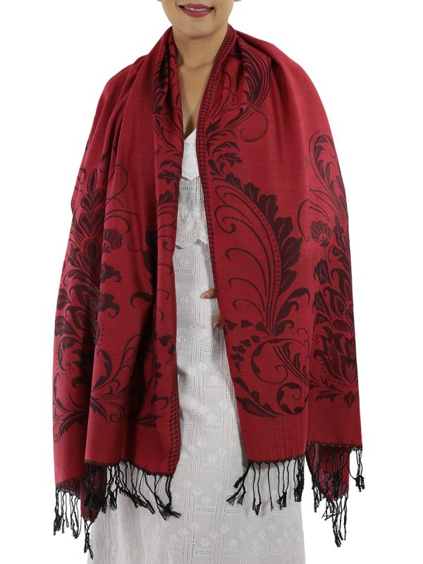 buy deep red pashmina shawl