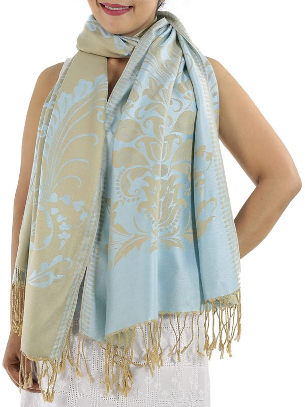 buy silver blue pashmina wrap