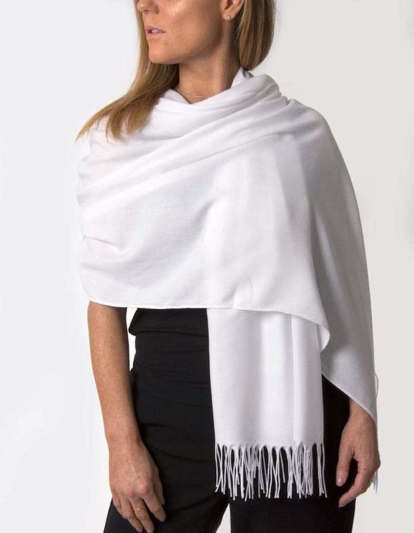 White Pashmina Shawl Wrap Scarves